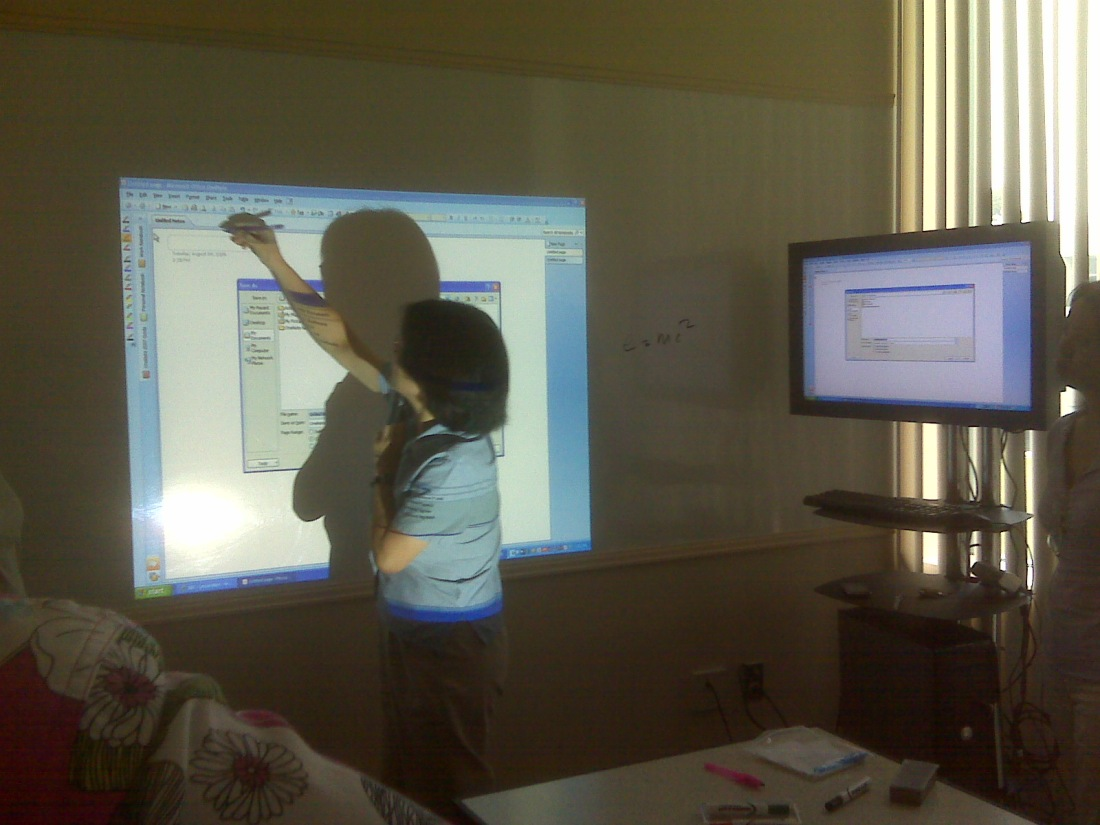A demonstration of UMBC's interactive whiteboard, powered by Wii remotes.